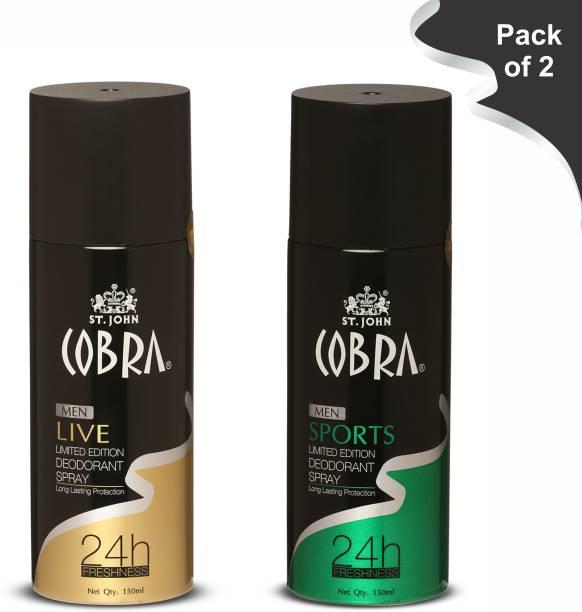 VI-JOHN Cobra Deo Live 150 ml | Cobra Deo Sports 150 ml Deodorant Spray  -  For Men