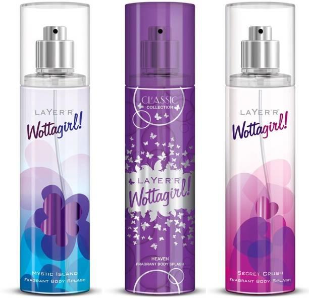 LAYER'R Wottagirl! Body Spray Combo(WottaGirl(MysticIsland) +WottaGirl(Heaven)+ WottaGirl(Secret Crush)) Deodorant Spray  -  For Women
