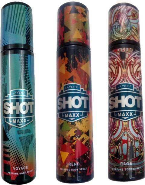 Layer'r Shot SHOT MAXX TREND+SHOT MAXX RAGE+SHOT MAXX VOYAGE Deodorant Spray  -  For Men & Women