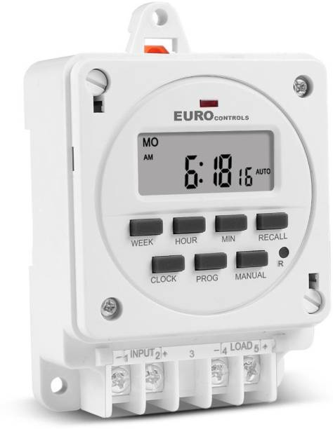 Euro Controls TM-614E Taiwanese Weatherproof Digital Programmable Timer 16A AC 200v - 250V - LCD - 16 Programs Daily/Weekly/Countdown - Din/Screw/Panel Mount - Battery Reserve - Plug N Play Programmable Electronic Timer Switch