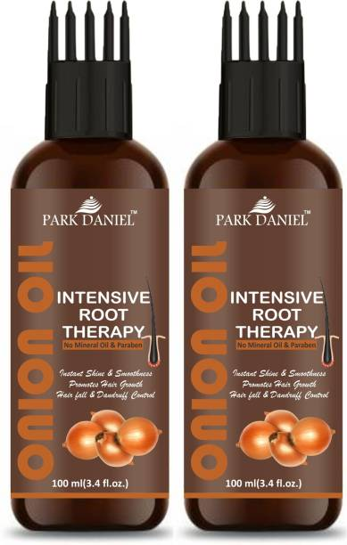 PARK DANIEL ONION OIL- Intensive Root Therapy With Active Hair Growth Booster Ingredients- For Anti Hair fall & Promotes Hair Regrowth Combo Pack of 2 Bottles of 100 ml(200 ml) Hair Oil