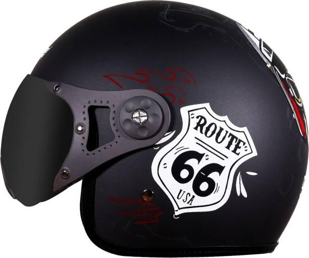 Steelbird SB-40 DOT Route66 Open Face Helmet in Matt Metallic Grey Motorbike Helmet