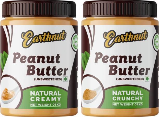 Earthnut All Natural Peanut Butter Combo Creamy Crunchy (Unsweetened, Non-GMO, Gluten Free, Vegan)(1kg + 1kg) 2 kg