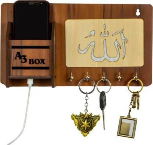 A3 BOX Special Addition Islamic Design and Mobile Holder Wood Wood Key Holder