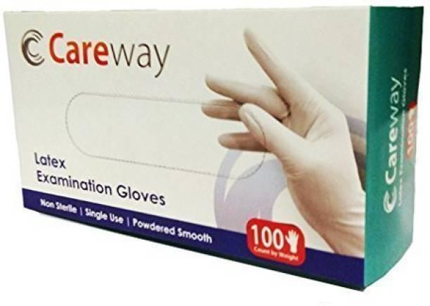 Careway Medical Examination Disposable Hand Gloves-Large Latex Examination Gloves