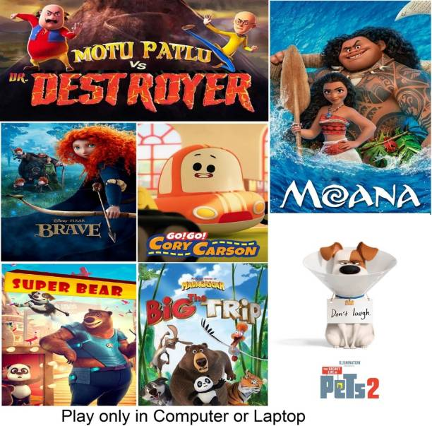 Motu Patlu vs Dr Destroyer , Moana , Brave , Go Go Cory Carson , Super Bear , The Big Trip , The Secret Life of Pets 2 (7 Cartoon Movies) in Hindi & English it's DURN DATA DVD play only in computer or laptop it's not original without poster HD print quality