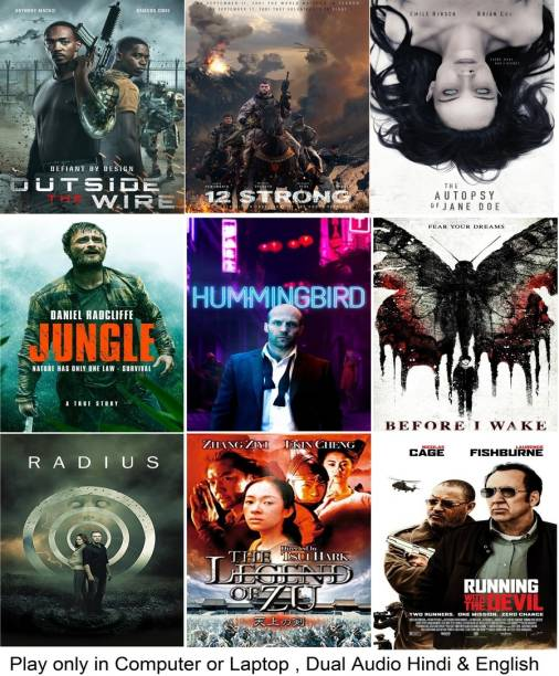 Outside the Wire , 12 Strong , The Autopsy of Jane Doe , Jungle , Redemption , Before I Wake , Radius , Legend of Zu Mountain , Running with the Devil (9 Movies) in Hindi & English it's DURN DATA DVD play only in computer or laptop it's not original without poster