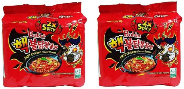 Samyang 2X Spicy Hot Chicken Flavour Instant Korean Noodles - 140gm*10Pack (5Pack X 2 Combo) Hakka Noodles Non-vegetarian