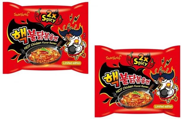 Samyang 2X Spicy Hot Chicken Flavour Instant Korean Noodles - 140gm*2Pack (Pack of 2) (Imported) Hakka Noodles Non-vegetarian