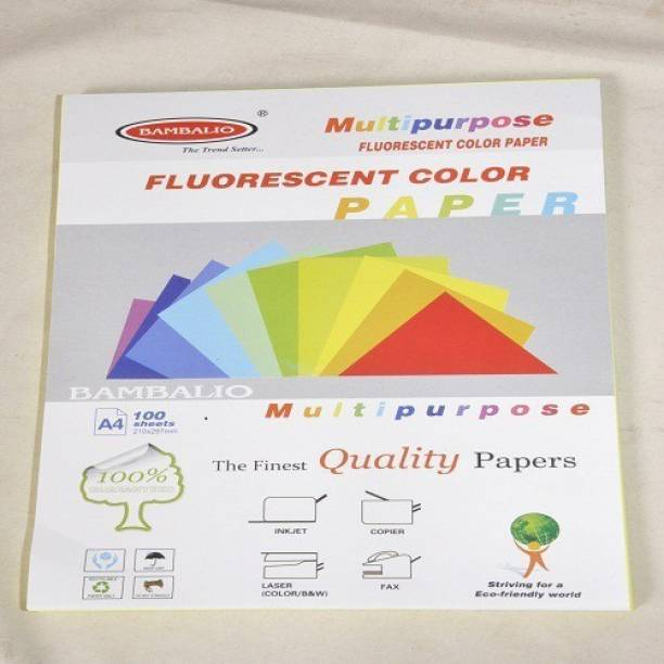 BAMBALIO BFP-MIX Fluorescent Colour Paper Pack Of 100 Sheets Smooth Finish 80 Gsm/ A4 Size: 5 Assorted Neon Colours 80 gsm Multipurpose Paper