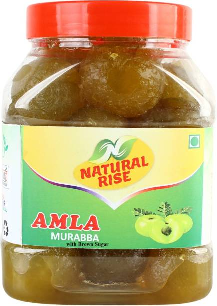 Natural Rise Premium Quality Handmade Homemade Pure Organic Amla Murabba with Brown Sugar (950 grams) Amla Murabba