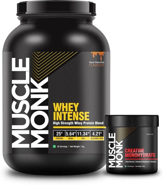 MuscleMonk Highly Intense Whey Protein (1kg Royal Chocolate with Creatine Monohydrate 100g) Whey Protein