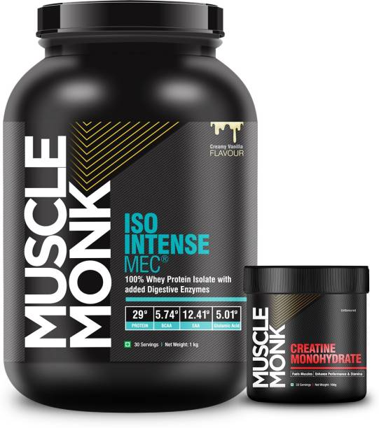 MuscleMonk ISO Intense MEC Whey Isolate Protein (1 kg Creamy Vanilla with Monohydrate 100gms) Whey Protein