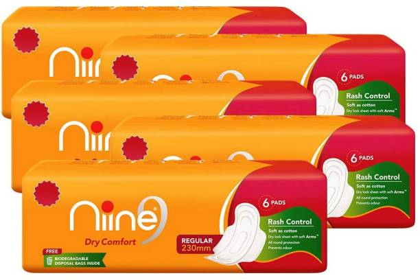 niine Regular Sanitary Pads for women (Pack of 5), With disposable bags inside, 30 Pads Count Sanitary Pad