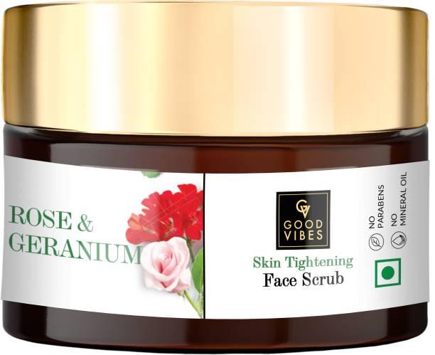 GOOD VIBES Skin Tightening Face Scrub - Rose & Geranium Scrub