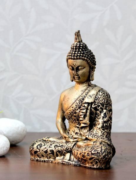 Craft Junction Handcrafted Samadhi Buddha Decorative Showpiece  -  16 cm