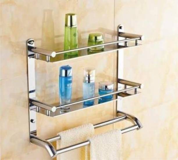 Hariom Sales HS-3009, Multi use Rack Stainless Steel Bathroom Shelf/Kitchen Shelf/Bathroom Shelf and Rack/Bathroom Accessories Stainless Steel Wall Shelf (Number of Shelves - 2, Steel) Silver Towel Holder
