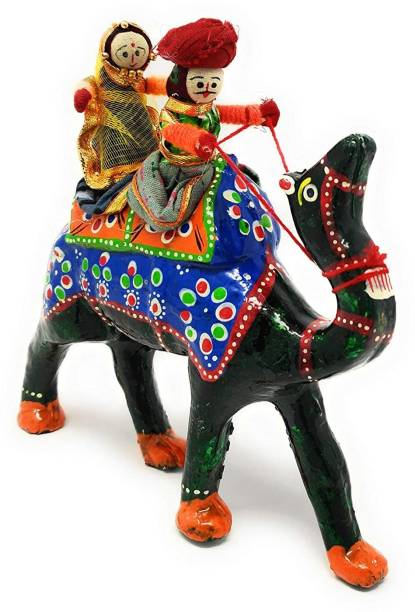 JH Gallery Handmade Recycled Material Figurines Rajasthani Doll Couple Rider Idol Showpiece/Home Décor/Home Furnishing/Firgurine/Idol/Gifting/Décor Figurine Hand Puppets