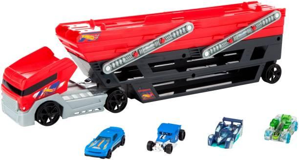 HOT WHEELS MEGA HAULER + 4 CARS Vehicles