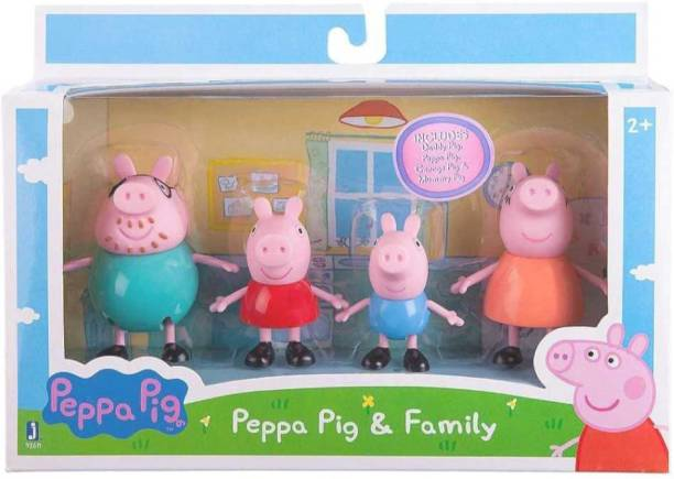 cobblers Peppa Pig Toys Family Set Orginal Cartoon Animated Figures (Blue, Red, Orange, Blue)