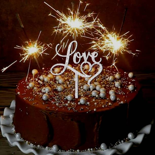 Creatick Studio Love Glitter Cake Topper for Valentines Day | Anniversary Couple Cake Topper Cake Topper