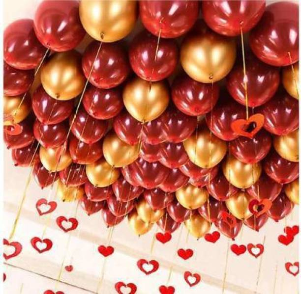 Eos Solid Solid Metallic Red & Golden balloons Balloon
