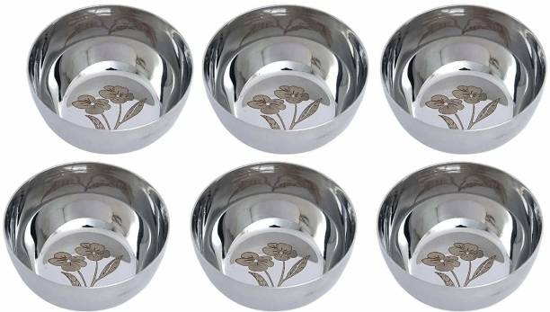 POZEX Stainless Steel Heavy Weight Laser Printed Flower Design Katori Bowls Stainless Steel Serving Bowl