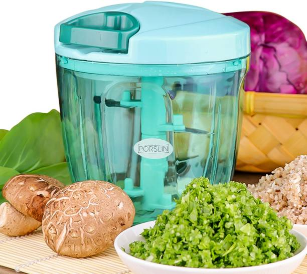 Porslin 6 Stainless Steel Blade System 900 ML Olive Green Color Mini Chopper for Kitchen Dori Chopper Quick Handy Vegetable and Fruit Chopper XXL Size Fruit Nut Onion Chopper, Hand Meat Grinder Mixer Food Processor Shredder Salad Maker Vegetable Tools Cutter for Kitchen Vegetable & Fruit Chopper