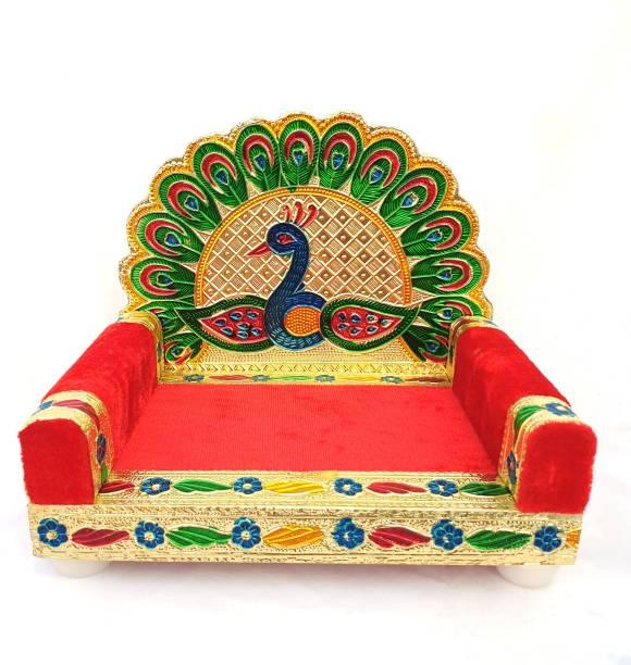 visatgoddism 1 To 4 No Laddu Gopal Singhasan Bal Gopal Singhasan Thakurji God Sofa Wooden Minakarigari Bethak Solid Wood ( Height 13 CM ) Wooden Pooja Chowki