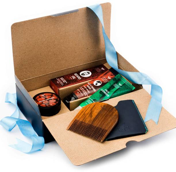 BOMBAY SHAVING COMPANY Beard Kit with Beard Wash, Cedarwood Beard Oil, Beard Softener & Beard Comb