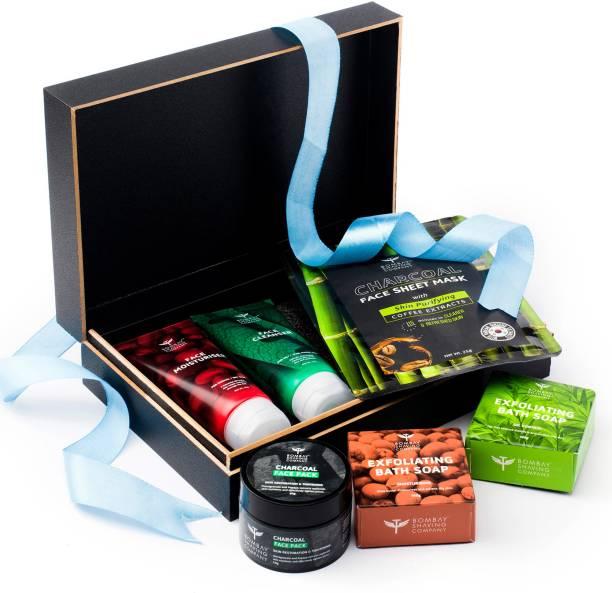 BOMBAY SHAVING COMPANY Unisex Skincare Gift Kit with Face Wash, Face Moisturiser, Charcoal Sheet Mask, Exfoliating Bath Soaps & Charcoal Face Pack
