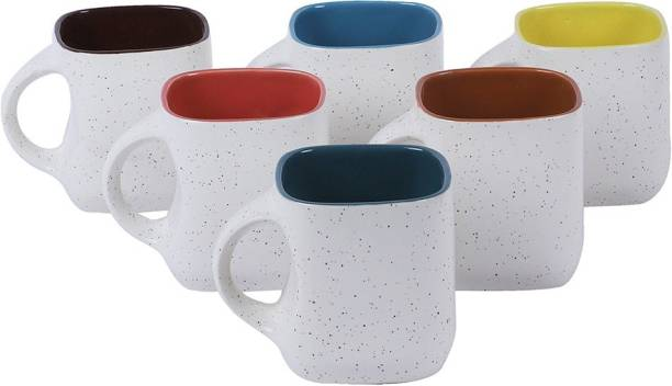 KIKI CREATION Pack of 6 Ceramic, Bone China White Matte Dotted Multi Color Tea Cup with Handle (Medium Size) Set of 6 (White)