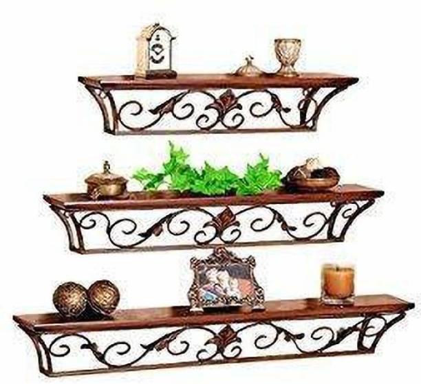 CELWARK Shelf,Creative Wrought Iron Wall-Mounted Bookshelf Bedroom Living Room Decoration Wooden, Iron Wall Shelf