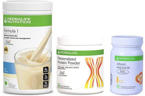 HERBALIFE Weight Loss Combo of Formula 1 Shake mix, Protein Powder & Afresh Energy Drink mix Energy Drink
