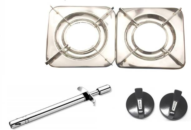 Yash Collections Yash Collections Steel Automatic Stove (2 Burners) with steel gas lighter with gas stove nobs set Stainless Steel, Steel Automatic Gas Stove