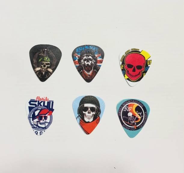 AMG Music Guitar Picks with various Printed Design Set Of 6 Guitar Pick