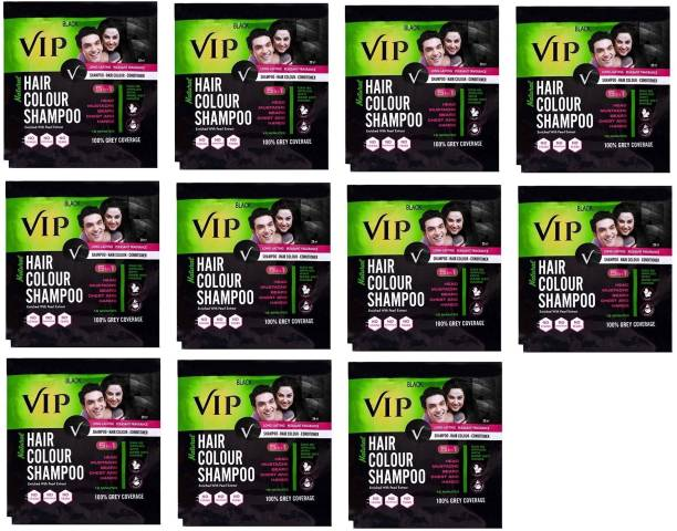 VIP 5 in 1 Hair Color Shampoo (Pack of 11 x 20 ml ) , Natural Black