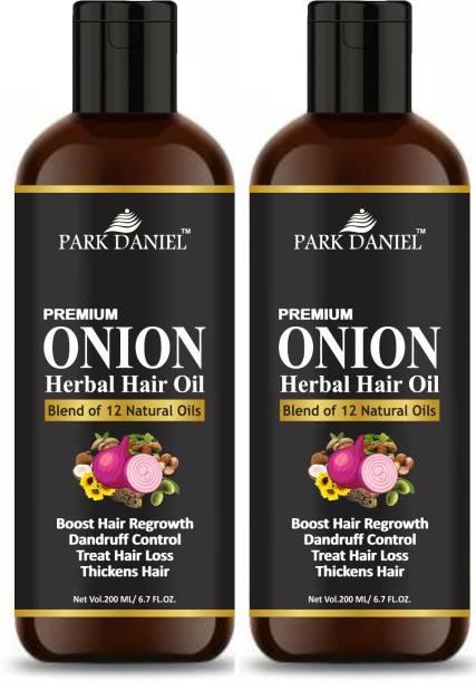 PARK DANIEL Premium Onion Herbal Hair oil Blend of Natural Oils for Increase hair growth, dandruff control & to stop hair fall combo pack of 2 bottles of 200 ml(400 ml) Hair Oil