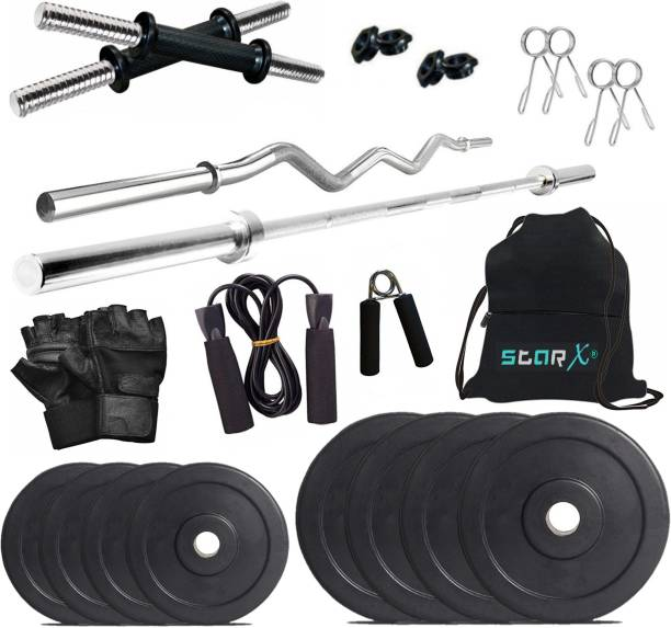 Star X 20 kg Rubber weight Plates with 3ft Curl Rod and 5ft Straight Rod and Accessories Home Gym Combo