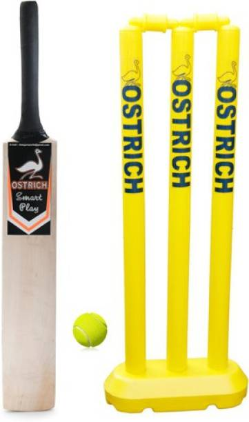 Ostrich SMART PLAY For Age Group 8 Years Juniors Cricket Kit COMBO 1 Piece Wooden Cricket Bat 1 Set 24'' Plastic Wicket Set 1 Piece Tennis Ball Cricket Kit