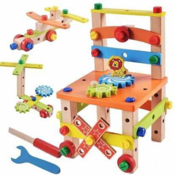 Smartcraft Kids DIY Wooden Chair Disassembly Toys, Wooden Nuts and Bolts Set DIY Combination Construction Building Puzzle Blocks Toy Carpenter Workbench Chair Assemble Toys Kit Pretend Builder Set (Multicolor)