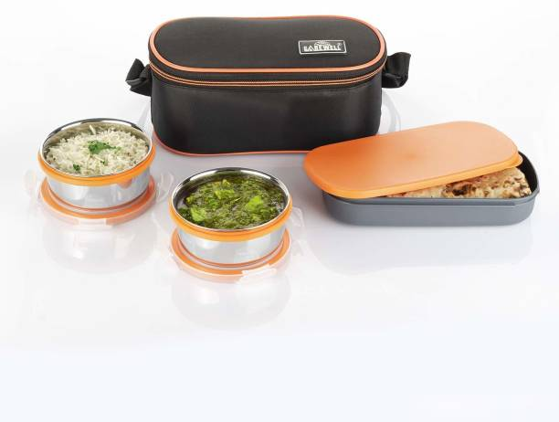 Carewell Royal Double Decker 2 Container Stainless Steel with Small Lunch Box (1000ML) 3 Containers Lunch Box