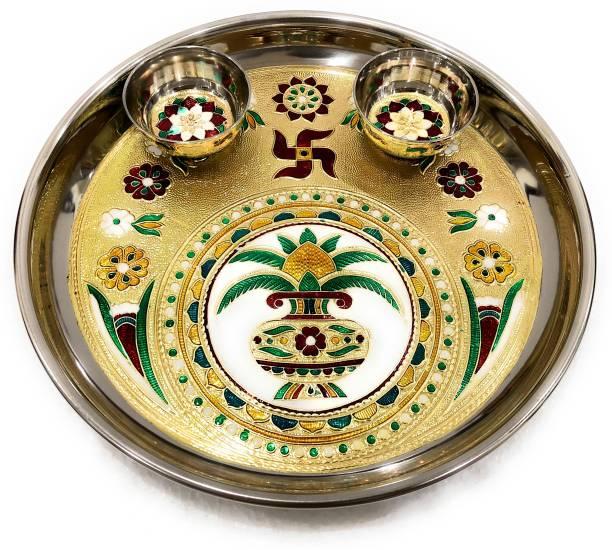 NAVRANG Pooja Thali Decorative Dish Aarti Thali Puja Set Meenakari Thali Steel