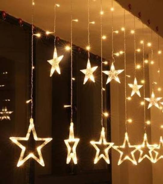 Wuze Wuze Decorative Star Curtain LED Lights for Diwali Christmas Wedding - 2.5 Meter (1 Curtain) 138 LED, (6+6 Star) Track Lights Ceiling Lamp