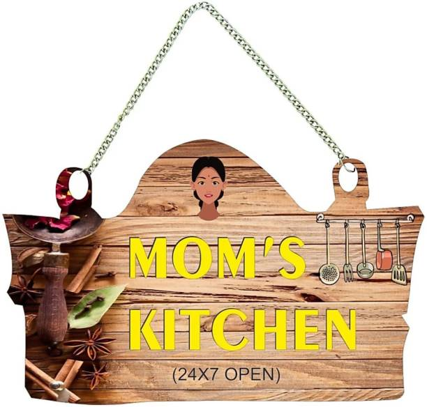 Craft Junction Mom's Kitchen Door Sign, Mother's Day Gift, Mom Birthday Gift, Mummy Gift for Birthday Wall Hanging Board Plaque Sign for Kitchen Decoration Decorative Showpiece  -  22 cm