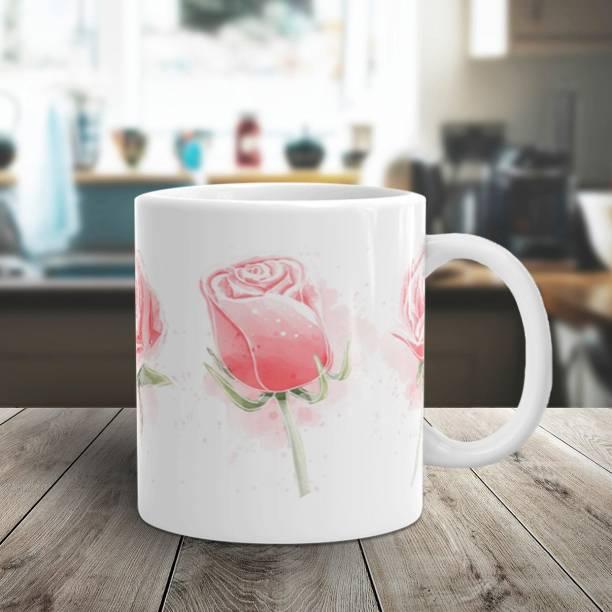 Flipkart SmartBuy THREE PINK ROSES Ceramic Coffee Mug