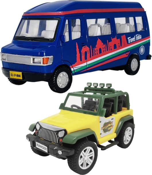 Giftary Pack Of 2 Small Size Made From Plastic Indian Miniature Tempo Travel Van Toy + Ranger Jungle safari Jeep Toys For Kids| Made In India[2 Combo Offer]