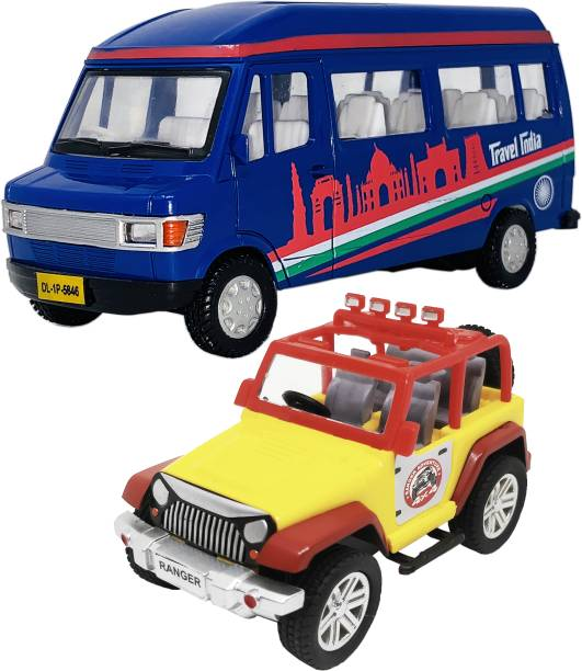 Giftary 2 Mini Size Plastic Made Indian Replica Travel Van Toy + Jeep Toys For Children|Kids Playing Toys| Use As Showpieces[2 Combo Offer]