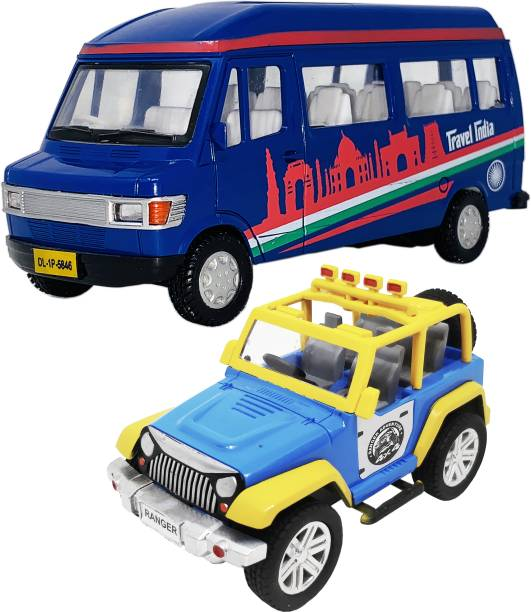 Giftary Set Of 2 Small Size Made Of Plastic Indian Automobile model Travel Van Toy + Jeep Toys For Kids|Boys Playing Toys| Very Small Size[2 Combo Offer]