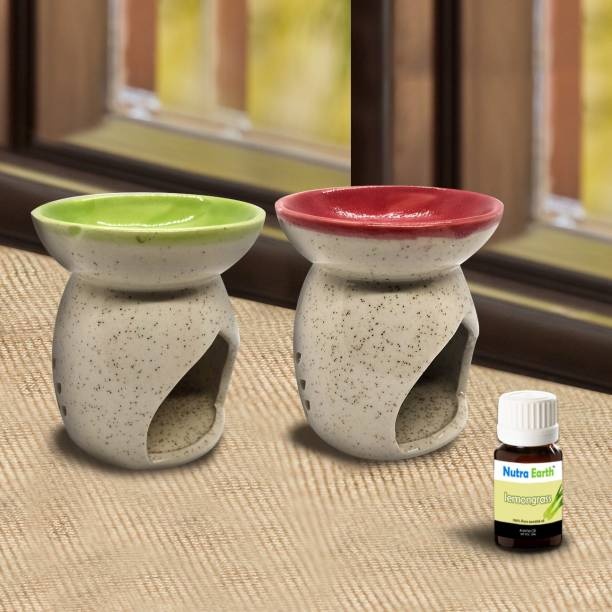 Nutra Earth Pack of 2 Ceramic Red & Green Aroma oil Burner with 10ml Lemongrass aroma oil Diffuser Set